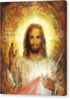 Divine Mercy, Sacred Heart Of Jesus 4 Canvas Print by Terezia Sedlakova Wutzay