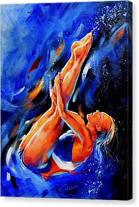 Diving Diva Canvas Print by Hanne Lore Koehler