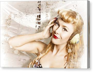 Dj Glamour Pin-up Canvas Print by Jorgo Photography - Wall Art Gallery