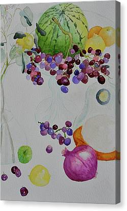 Canvas Print featuring the painting Django's Grapes by Beverley Harper Tinsley