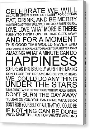 Dave Matthews Band Canvas Print - Dmb Song Lyrics Word Art by Sarah St Pierre