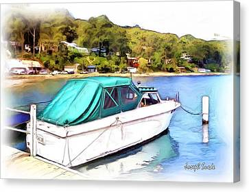 Canvas Print featuring the photograph Do-00276 Green Boat In Killcare by Digital Oil