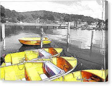 Do-00279 Yellow Boats Canvas Print
