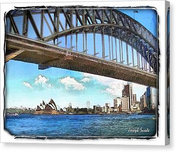 Canvas Print featuring the photograph Do-00284 Sydney Harbour Bridge And Opera House by Digital Oil