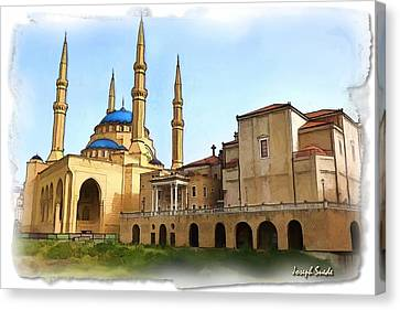 Canvas Print featuring the photograph Do-00362al Amin Mosque And St George Maronite Cathedral by Digital Oil