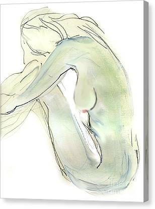 Canvas Print featuring the drawing Do You Think - Female Nude by Carolyn Weltman