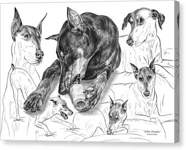 Dober-thoughts - Doberman Pinscher Montage Canvas Print