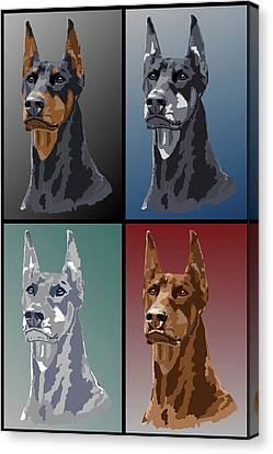 Doberman Colors Canvas Print by Kathie Miller