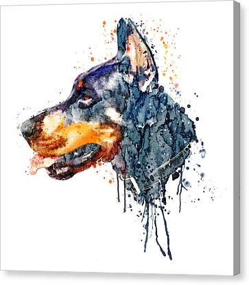 Doberman Head Canvas Print by Marian Voicu