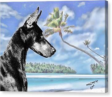 Doberman In The Tropics Canvas Print by Maria C Martinez