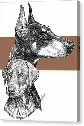 Working Dog Canvas Print - Cropped Doberman Pinscher And Pup by Barbara Keith