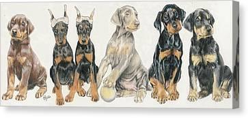 Working Dog Canvas Print - Doberman Puppies by Barbara Keith