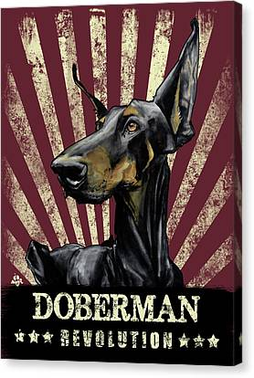 Caricature Canvas Print - Doberman Revolution by John LaFree