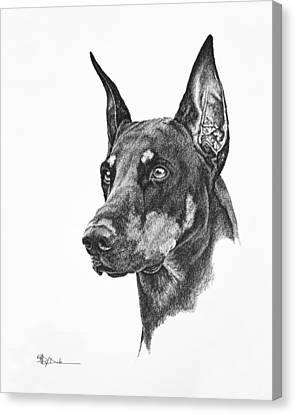 Doberman Trial Show Dog With A Long Ear Cut_dobe Canvas Print by Mary Dove