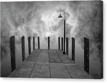 Dock And Clouds Canvas Print by Dave Gordon