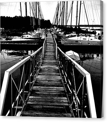 Dock And Sailboats Canvas Print by Kevin Mitts