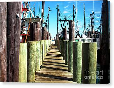 Canvas Print featuring the photograph Dock At Barnegat Bay by John Rizzuto