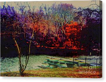 Canvas Print featuring the photograph Dock At Central Park by Sandy Moulder