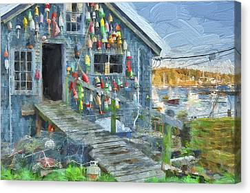 Dock House In Maine II Canvas Print by Jon Glaser