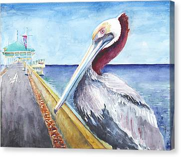 Canvas Print featuring the painting Dock Master by Arthur Fix