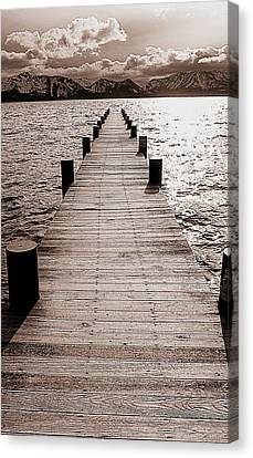 Dock Of Lake Tahoe With Views Of Mount Tallac Canvas Print by Brad Scott