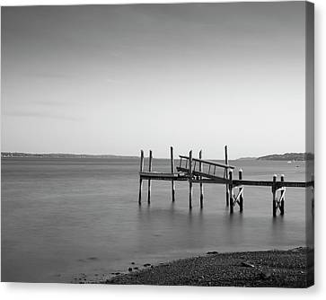 Canvas Print featuring the photograph Dock Portsmouth Ri I Bw by David Gordon
