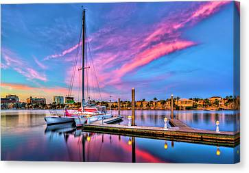 Shower Canvas Print - Docked At Twilight by Marvin Spates