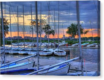 Charles River Canvas Print - Docked Sailboats At Sunset - Boston by Joann Vitali