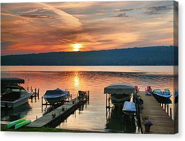 Keuka Canvas Print - Docks At Dawn by Steven Ainsworth