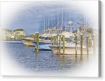 Docks In Manteo Canvas Print by Marion Johnson
