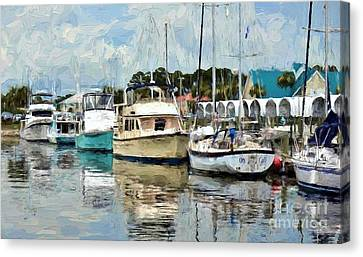 Dockside At Port St. Joe Marina In Cape San Blas Florida Version Two Canvas Print by D S Images