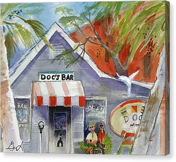 Docs Bar Tybee Island Canvas Print by Gertrude Palmer
