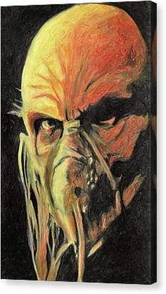 Canvas Print featuring the painting Doctor Satan by Taylan Apukovska