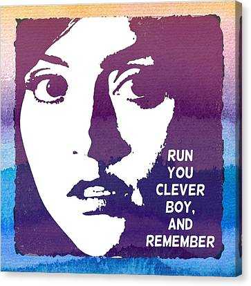 Doctor Who Inspired Clara, Run You Clever Boy Canvas Print by Alondra Hanley