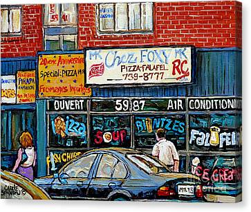 Documenting Vintage Montreal Pizza Places Chez Foxy Kosher Deli Street Scene Paintings C Spandau Art Canvas Print by Carole Spandau