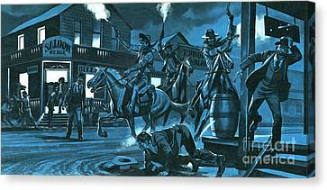 Dodge City At Night Canvas Print by Ron Embleton