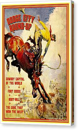 Dodge City Round Up Canvas Print by Pg Reproductions