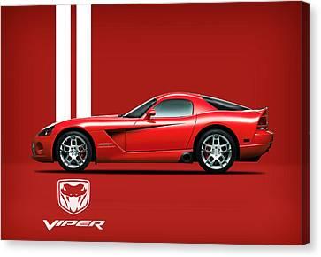 Dodge Viper Red Canvas Print by Mark Rogan