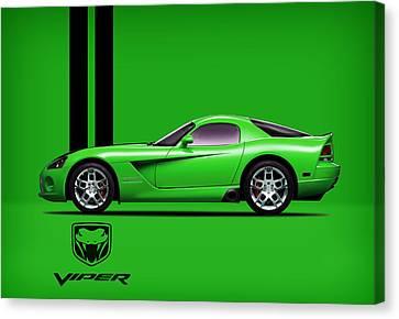 Viper Canvas Print - Dodge Viper Snake Green by Mark Rogan