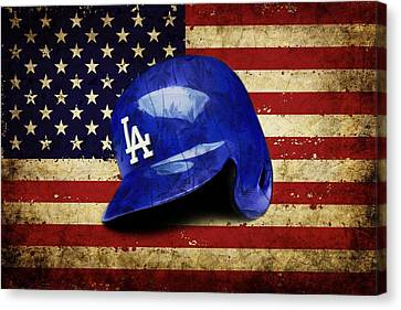 Dodgers Batting Helmet Canvas Print