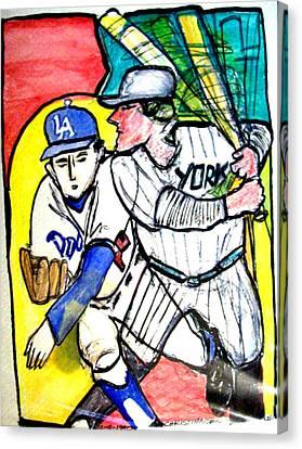 Dodgers Yankees Canvas Print by James Christiansen