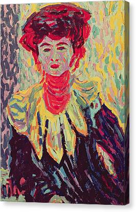 Dodo Or Isabella With A Ruffed Collar Canvas Print by Ernst Ludwig Kirchner