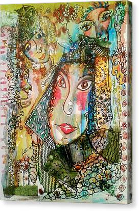 Canvas Print featuring the mixed media Doe Eyed Girl And Her Spirit Guides by Mimulux patricia no No