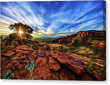 Canvas Print featuring the photograph Doe Mountain Sunset by ABeautifulSky Photography