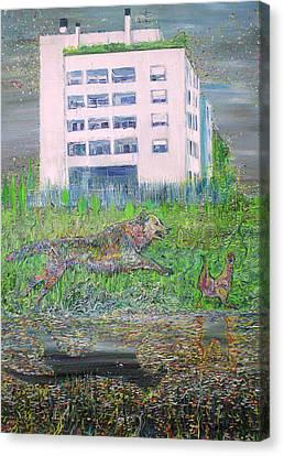 Dog And Chicken Canvas Print by Fabrizio Cassetta