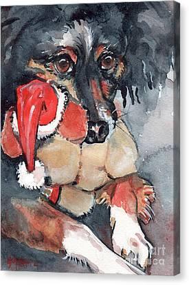 Dog And Santa Puppy  Canvas Print by Maria's Watercolor