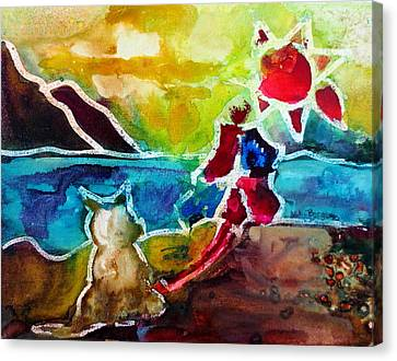 Dog Beach Canvas Print by M L Borges