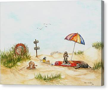 Dog Beach Canvas Print by Miroslaw  Chelchowski