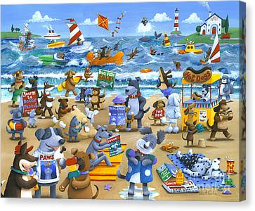 Dog Beach Canvas Print by Peter Adderley