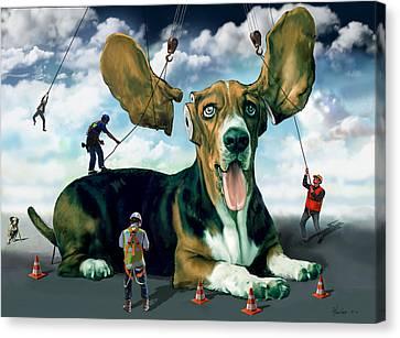Dog Construction Canvas Print